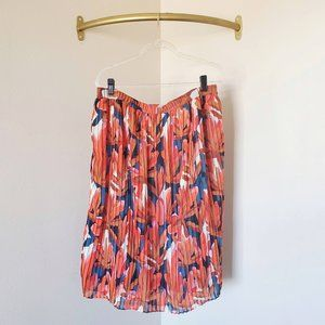 Who What Wear Floral Pleated Midi Skirt XL